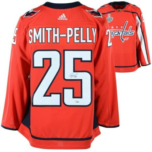 DEVANTE SMITH-PELLY Washington Capitals 2018 Stanley Cup Champions Autographed Red Adidas Authentic Jersey with 2018 Stanley Cup Final Patch FANATICS