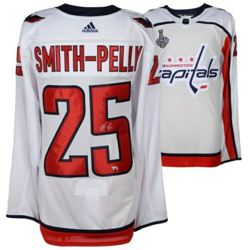 DEVANTE SMITH-PELLY Washington Capitals 2018 Stanley Cup Champions Autographed White Adidas Authentic Jersey with 2018 Stanley Cup Final Patch FANATICS