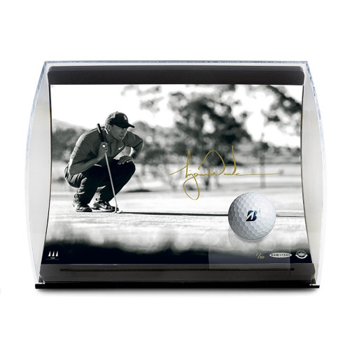 """TIGER WOODS Autographed """"Lining it Up"""" Photo and Ball in Curve Display UDA Limited Edition of 50"""