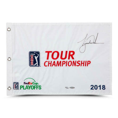TIGER WOODS Autographed 2018 Tour Championship Pin Flag UDA Limited Edition of 500