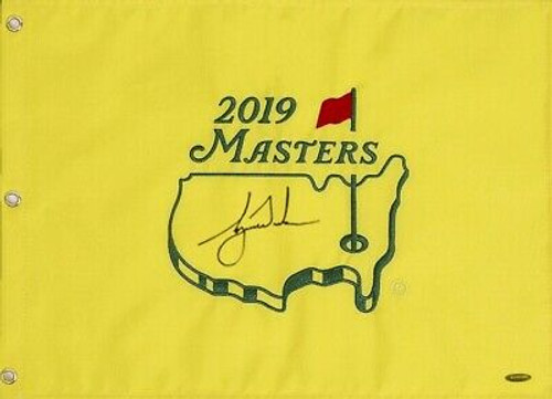 TIGER WOODS Autographed 2019 Masters Pin Flag UDA LE 1000