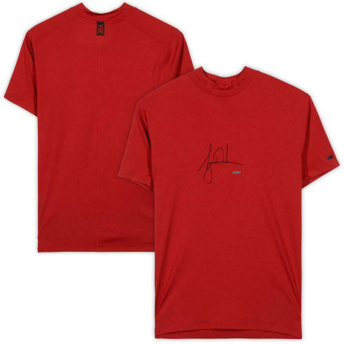 TIGER WOODS Autographed Nike Polo Red Vapor Dry Mock Turtleneck UDA