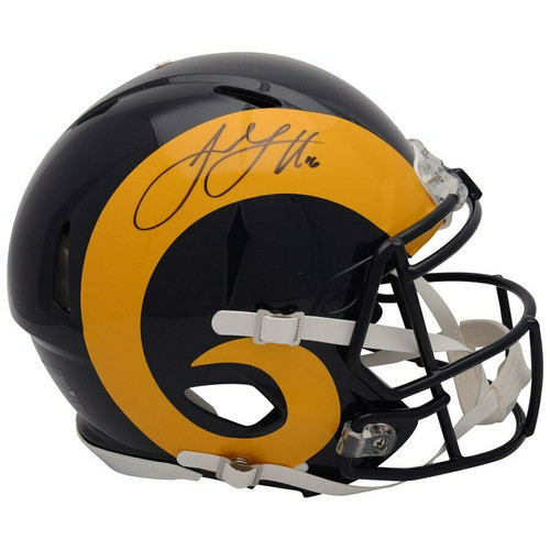 JARED GOFF Autographed Los Angeles Rams Speed Throwback Authentic Helmet FANATICS