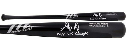 """ANTHONY RIZZO Autographed """"2016 WS Champs"""" Chicago Cubs Marucci Game Model Bat FANATICS"""