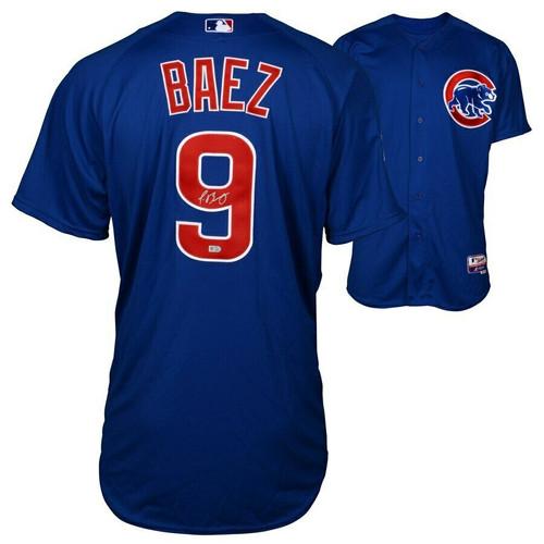 JAVIER BAEZ Autographed Chicago Cubs Authentic Away Blue Jersey FANATICS