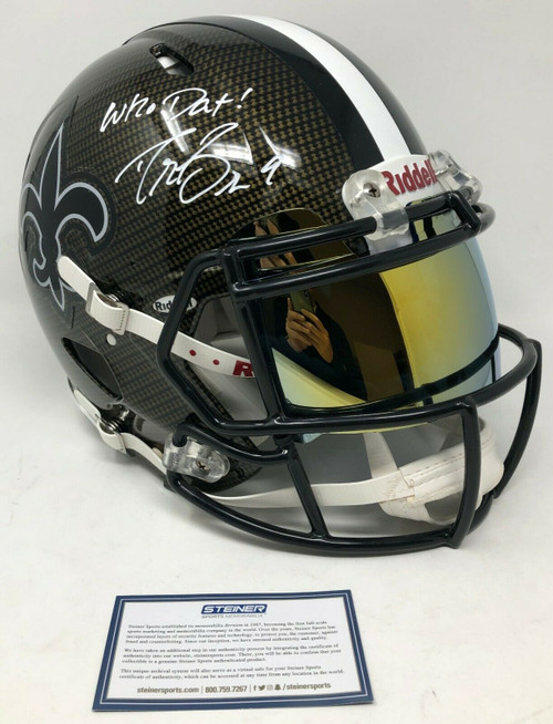 """DREW BREES Autographed """"Who Dat!"""" New Orleans Saints Authentic Riddell Speed Hydro Dipped Helmet STEINER"""