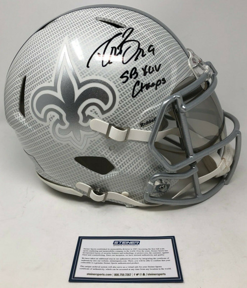 """DREW BREES Autographed """"SB XLV Champs"""" New Orleans Saints Authentic Riddell Speed Hydro Dipped Helmet STEINER"""