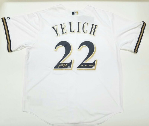 "CHRISTIAN YELICH Autographed / Inscribed ""18 NL MVP"" Milwaukee Brewers Cool Base Majestic Replica White Jersey STEINER"