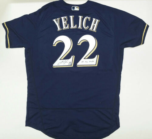 "CHRISTIAN YELICH Autographed / Inscribed ""18 NL MVP"" Milwaukee Brewers Authentic Majestic Blue Jersey STEINER"