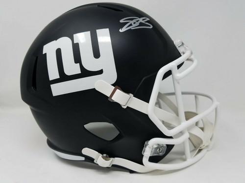 SAQUON BARKLEY Autographed New York Giants Black Matte Speed Replica Helmet PANINI