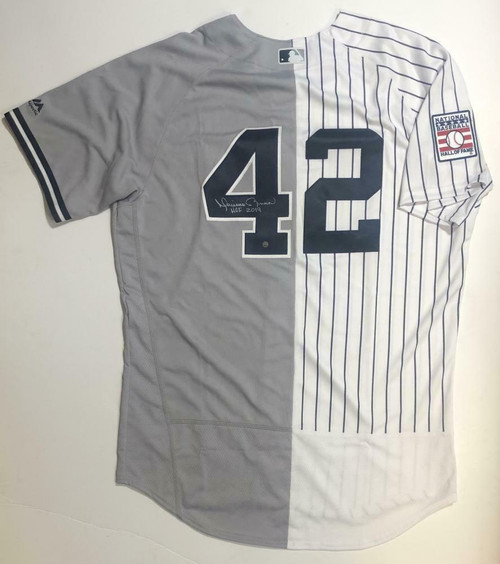 "MARIANO RIVERA Autographed ""HOF 2019"" Yankees Authentic Split Jersey STEINER"