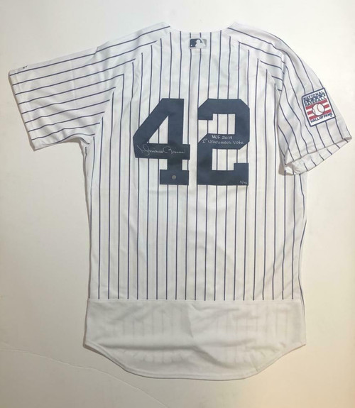 """MARIANO RIVERA Autographed """"1st Unanimous Vote"""" Authentic Jersey STEINER LE 42"""