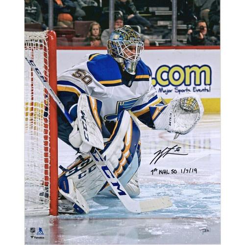 "JORDAN BINNINGTON Autographed St. Louis Blues ""1st NHL SO 1/7/19"" 16 x 20 Photo FANATICS"