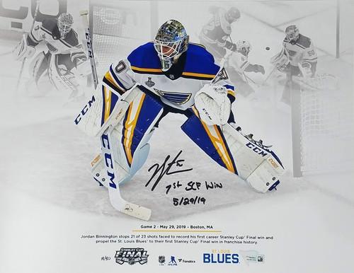 "JORDAN BINNINGTON St. Louis Blues Autographed/Inscribed ""1st SCF Win 5/29/19"" 11"" x 14"" Photo FANATICS LE 50"
