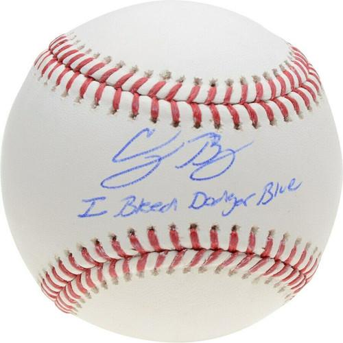 "CODY BELLINGER Los Angeles Dodgers Autographed ""I Bleed Dodger Blue"" Official Baseball FANATICS"