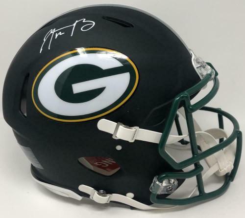Aaron Rodgers Autographed Green Bay Packers Black Matte Speed Helmet Fanatics Game Day Legends