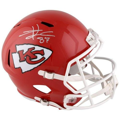 TRAVIS KELCE Autographed Kansas City Chiefs Full Size Speed Helmet FANATICS