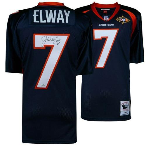"""JOHN ELWAY Autographed Denver Broncos """"HOF 04"""" Authentic Jersey FANATICS"""