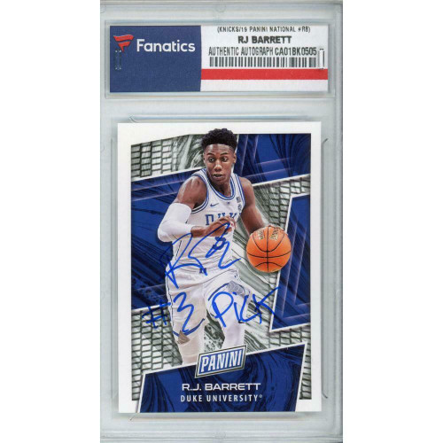 R.J. BARRETT Autographed New York Knicks/Duke '19 Panini National #RB Trading Card FANATICS