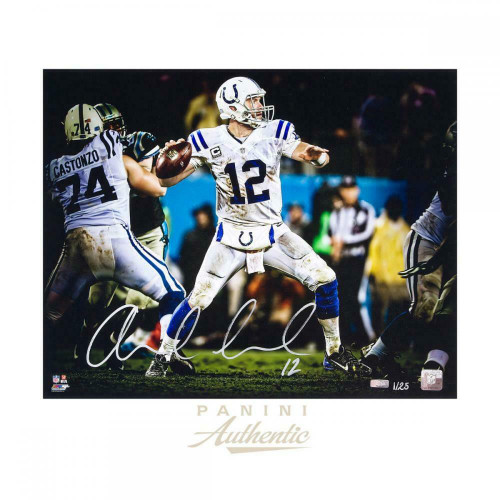 """ANDREW LUCK Autographed Indianapolis Colts 16 x 20 """"Seam"""" Photograph PANINI LE 25"""