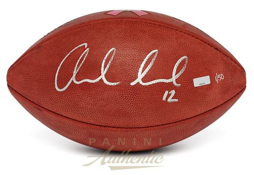 ANDREW LUCK Autographed SB50 Breast Cancer Awareness Football PANINI LE 50