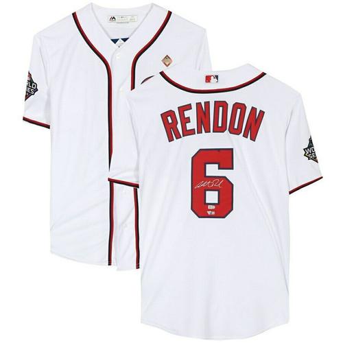 ANTHONY RENDON Washington Nationals Autographed 2019 World Series Champions White Majestic Replica Jersey FANATICS