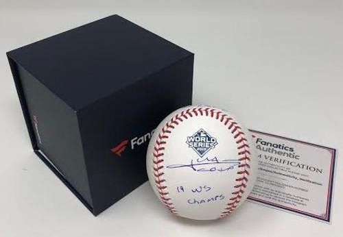 "JUAN SOTO Washington Nationals Autographed 2019 World Series Champions Baseball with ""19 WS Champs"" Inscription FANATICS"