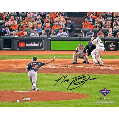 "MAX SCHERZER Washington Nationals Autographed 16"" x 20"" 2019 World Series Champions Game 1 Pitching Photograph FANATICS"