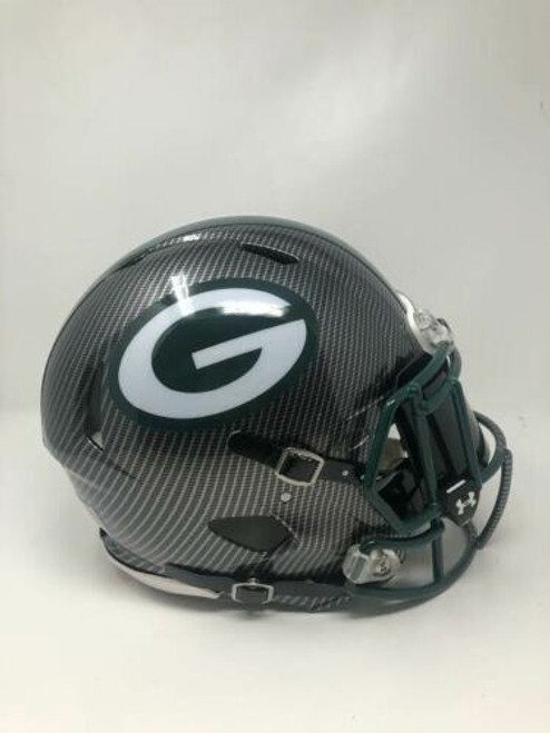 GREEN BAY PACKERS Authentic Speed Riddell Grey Hydro Dipped Full Size Unsigned Helmet