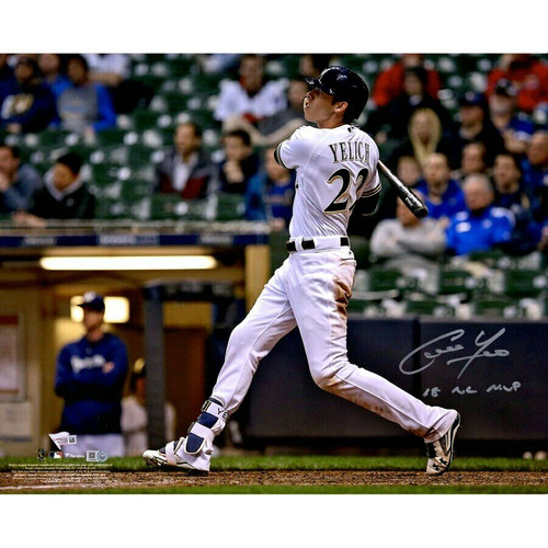 "CHRISTIAN YELICH Autographed Brewers 18 NL MVP 16"" x 20"" Photograph FANATICS"