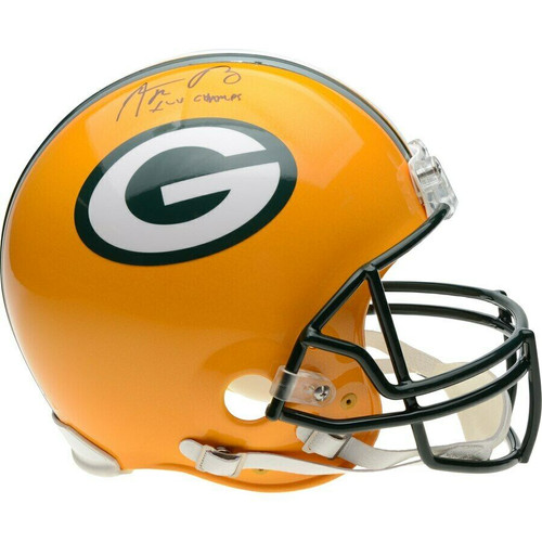 AARON RODGERS Autographed XLV Champs Green Bay Packers Proline Helmet FANATICS