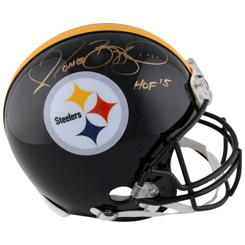 "JEROME BETTIS Autographed ""HOF '15"" Pittsburgh Steelers Proline Helmet FANATICS"