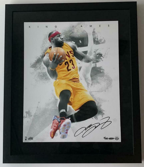 """LeBRON JAMES Autographed Cleveland Cavaliers """"Blow By"""" Framed 16"""" x 20"""" Photograph UDA Limited Edition 5 of 123"""