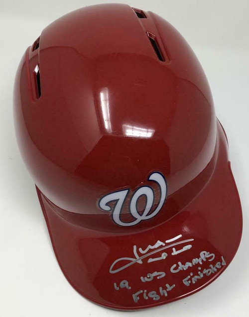 "JUAN SOTO Autographed Washington Nationals ""19 WS Champs"" Batting Helmet FANATICS LE 22/22"