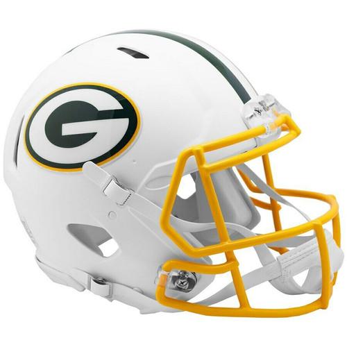 Green Bay Packers Riddell Flat White Matte Revolution Speed Authentic Helmet