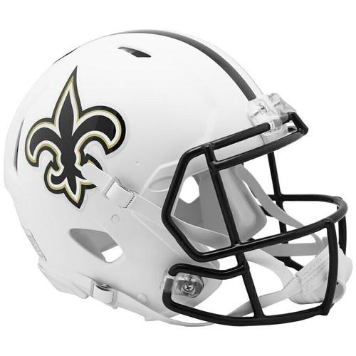 New Orleans Saints Riddell Flat White Matte Revolution Speed Authentic Helmet