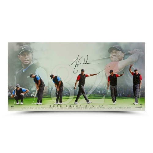 "TIGER WOODS Autographed ""82"" Career Wins 36"" x 18"" Photograph UDA LE 82"