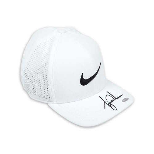 TIGER WOODS Autographed Nike AeroBill White Golf Hat UDA