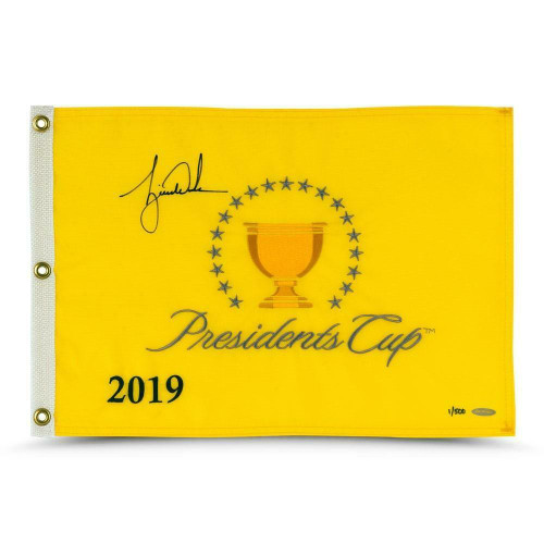 TIGER WOODS Autographed Authentic 2019 Presidents Cup Flag UDA LE 500