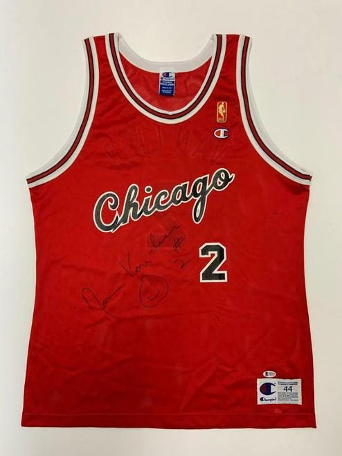 NORM VAN LIER Autographed Chicago Bulls Home Red Champion Jersey BECKETT