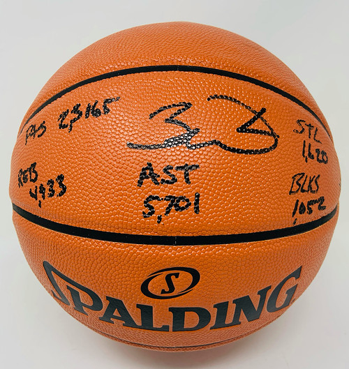 DWYANE WADE Autographed Miami Heat Stat Signed and Inscribed Spalding Basketball FANATICS LE 25