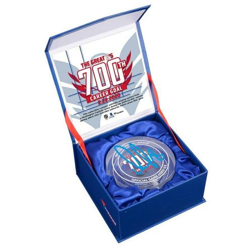 ALEX OVECHKIN Autographed Washington Capitals 700th Goal Crystal Puck Display FANATICS