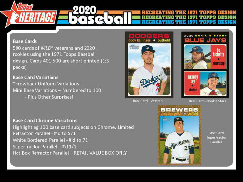 2020 TOPPS HERITAGE BASEBALL Blaster Box- Qty of 5 boxes (8 Packs/9 Cards each box) - MIKE TROUT