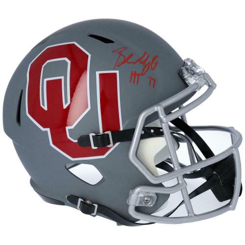 "BAKER MAYFIELD Autographed Oklahoma Sooners ""HT 17"" Speed AMP Full Size Helmet FANATICS"