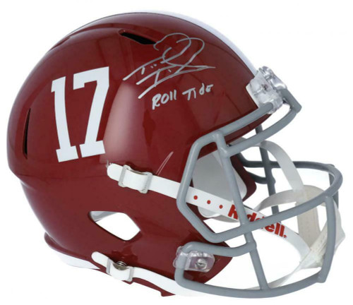 "TUA TAGOVAILOA Autographed Alabama Crimson Tide ""Roll Tide"" Full Size Speed Helmet FANATICS"