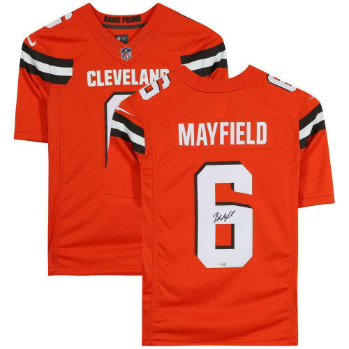 BAKER MAYFIELD Autographed Cleveland Browns Nike Limited Orange Jersey FANATICS