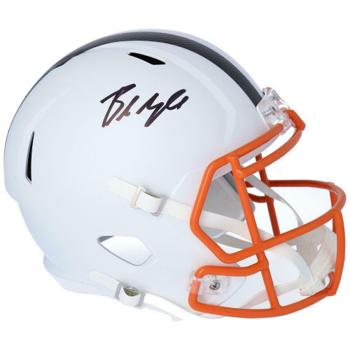 BAKER MAYFIELD Autographed Cleveland Browns White Matte Speed Full Size Helmet FANATICS