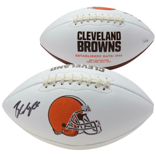 BAKER MAYFIELD Autographed Cleveland Browns White Panel Football FANATICS