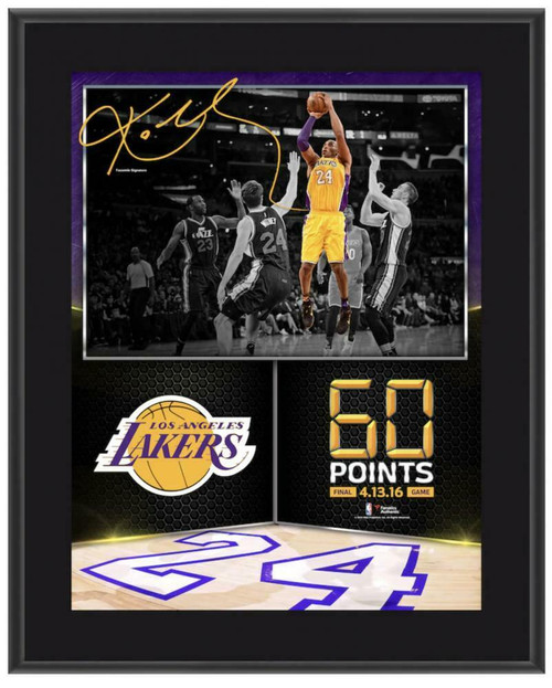 """KOBE BRYANT Los Angeles Lakers 10.5"""" x 13"""" 60 Point Finale Sublimated Plaque"""