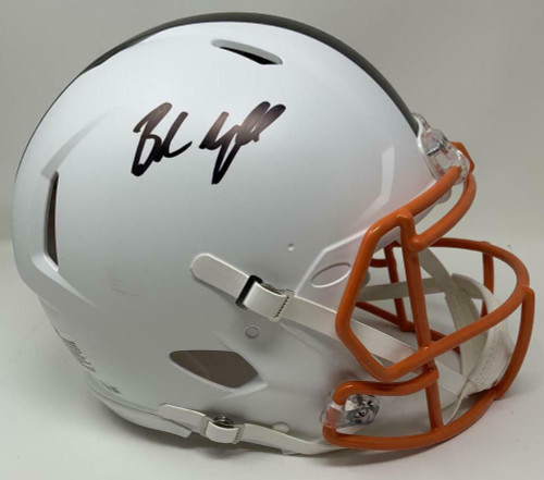 BAKER MAYFIELD Autographed Cleveland Browns White Matte Speed Authentic Helmet FANATICS